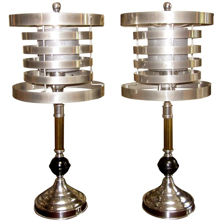 Pair of Machine Age Table Lamps | From a unique collection of antique and modern table lamps at https://www.1stdibs.com/furniture/lighting/table-lamps/