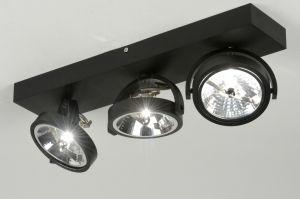 spot  72037: modern, design, industrie, look, aluminium, zwart, mat, langwerpig ...