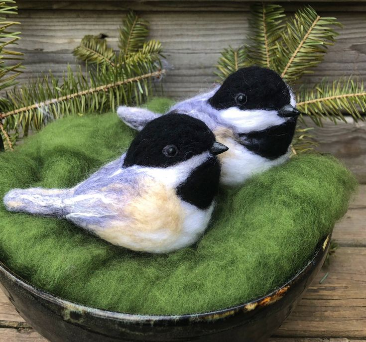 A personal favorite from my Etsy shop https://www.etsy.com/ca/listing/549526182/chickadee-ornamentneedle-felted