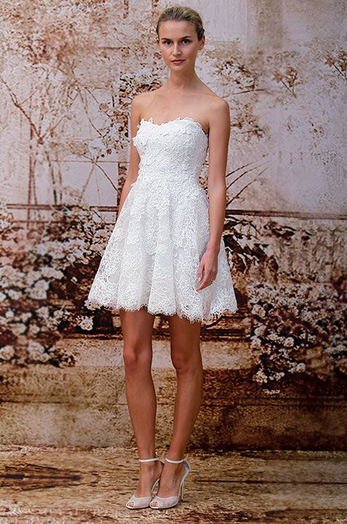 All lace short wedding dress from Monique Lhuillier, Fall 2014