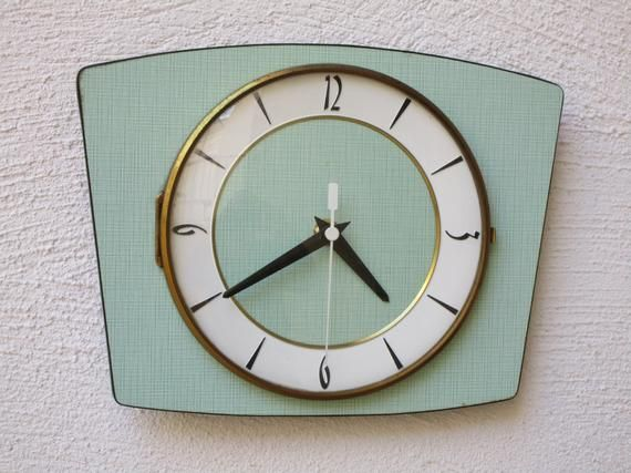 1950s Atomic Age Light Green Vintage French Wall Clock Green Vintage Wall Clock Square Shape Perfect W Vintage Wall Clock French Wall Clock Square Wall Clock