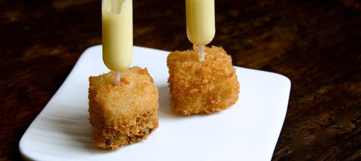 Pork Belly Kroketten met geroosterde maïs Cream