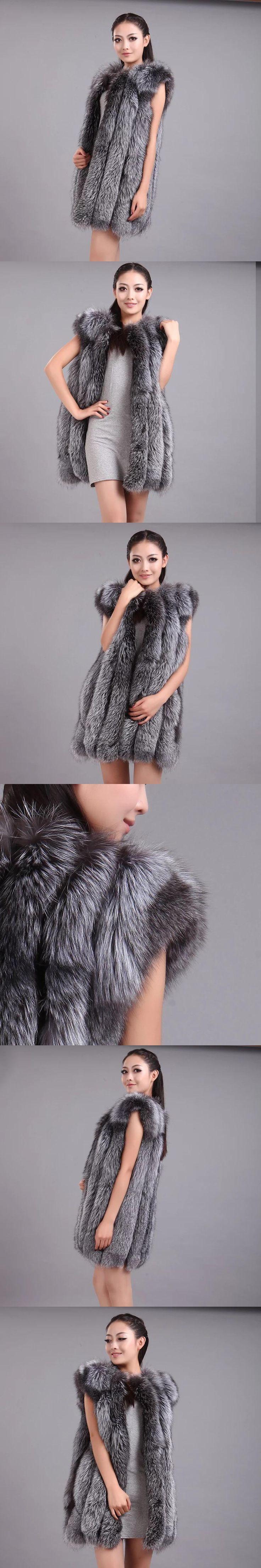 Long Real Fox Fur Vest for women Cotton-liner Sleeveless Natural Fur Waistcoat Winter Slim Genuine Fur Jacket