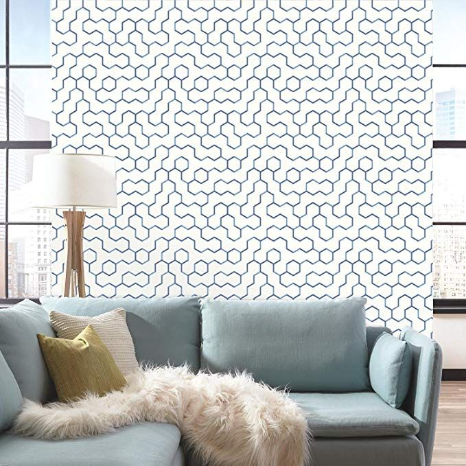 Roommates Blue Open Geometric Peel And Stick Wallpaper Amazon Com Removable Wallpaper Peel And Stick Wallpaper Peelable Wallpaper