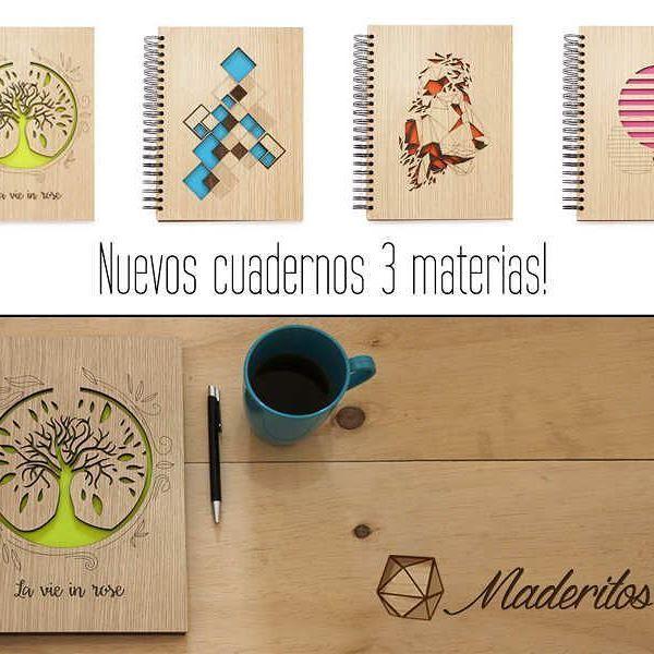 Nuevos cuadernos 3 materias Maderitos! - Cuadernos con tapas de madera y diseños cortados a láser - Madera 100% certificada y sostenible - Tamaño carta: 28cm x 21,5cm - 2 materias cuadriculadas y 1 materia rayada - 30 hojas por materia - Diseñadas y fabricadas en Colombia - Precio de venta: $34.900  #cuadernos3materias #maderitos