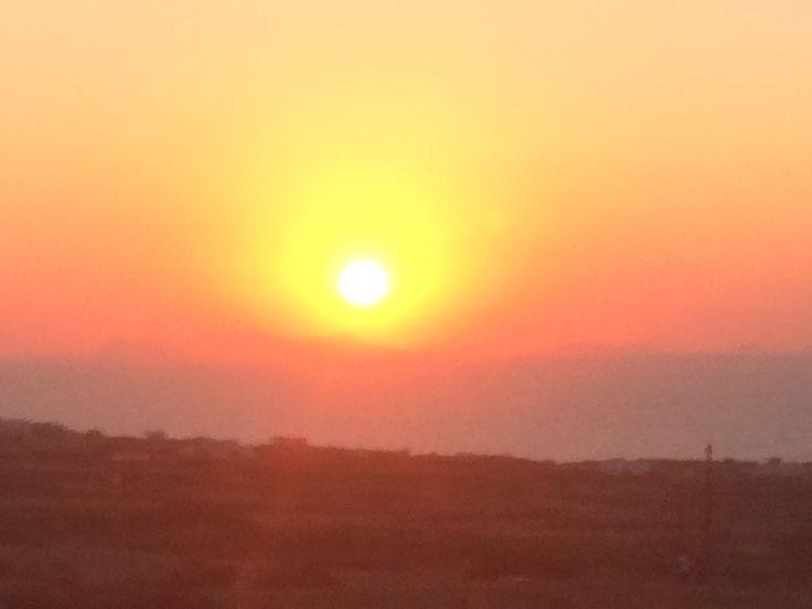 Sunset from Hansen house teracce Finikkia Santorini