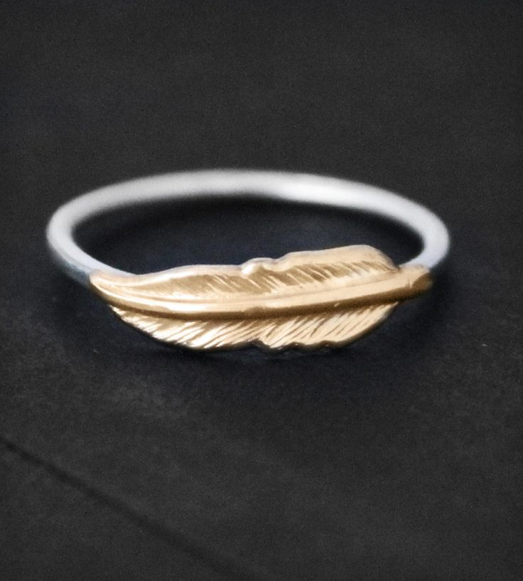 Feather Ring | Whimsical and handmade feather ring has a golden brass feather... | Rings