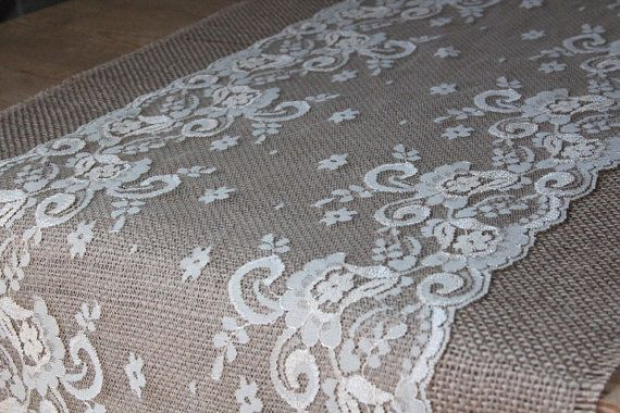 Lace And Burlap Table Runner Weddings Home Decor Rustic Shabby Chic On Etsy