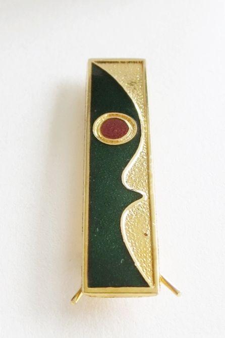 De Passillé-Sylvestre abstract hairpin. Enamel on gilded metal.