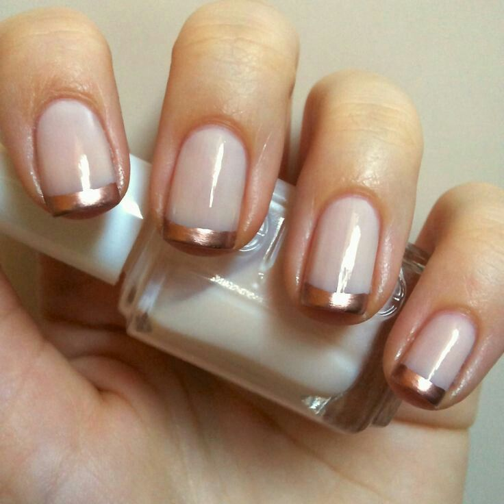 French mani with rose gold tips