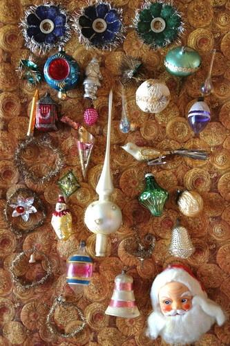 29 Antieke Oude Kerst Feather Tree Glas Victoriaans Ornamenten Decoraties Tweede Wereldoorlog   eBay