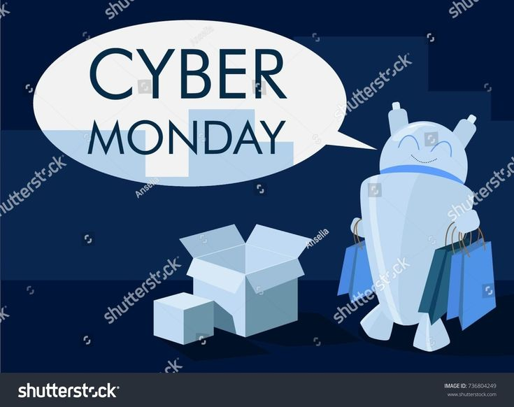 Cyber monday poster with robot consumer with bags