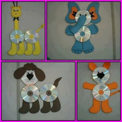 Recycle old CD Discs for kids art project ideas