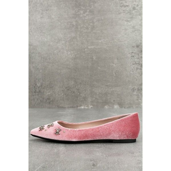 Size 6.5  Pink  Lulus ($60) ❤ liked on Polyvore featuring shoes, flats, pink, pink flats, pink studded flats, studded flats, studded pointed toe flats and flat pumps