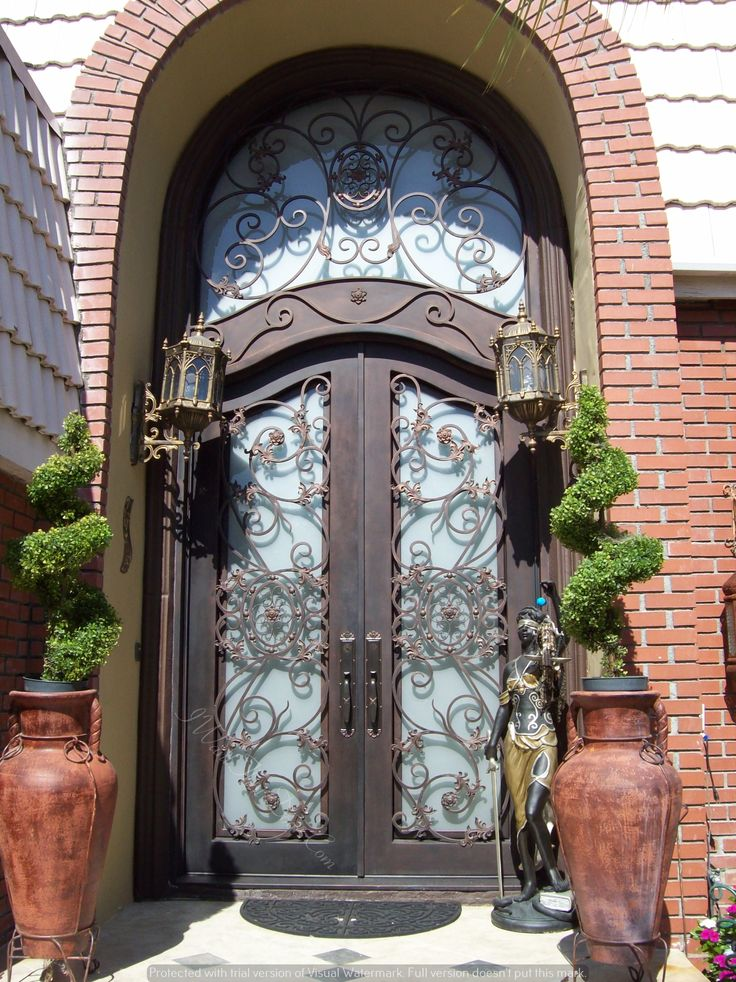 Denver Wrought Iron Door With Custom Top And Round Transom Wrought