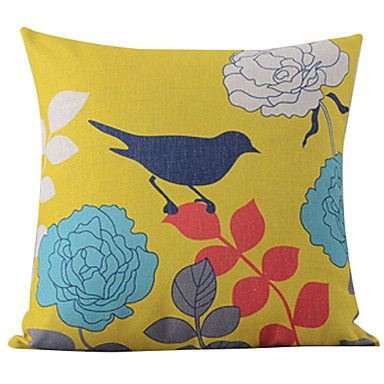 Classic Beautiful Hand-Painted Birdsand Flowers Decorative Pillow Cover – USD $ 14.99