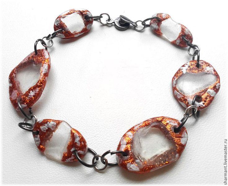 """Купить """"Пляжный сезон"""" - браслет и серьги с морскими стёклами - рыжий, морское стекло, морские стеклышки"""