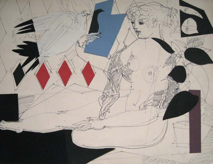 Nu Assis aux deux Oiseaux by Max Papart Drawing and Collage on Paper: 49 x 65 cm Signed & Dated '57
