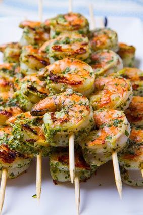 Pesto Grilled Shrimp Recipe. Healthy without slathering these shrimp in butter and oil :)  Ingredients: 1/2 cup basil, packed 1 small clove ...