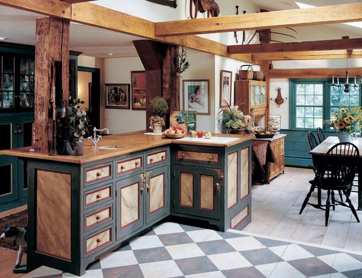 A Painted Checkerboard Floor Delineates The Kitchen In This