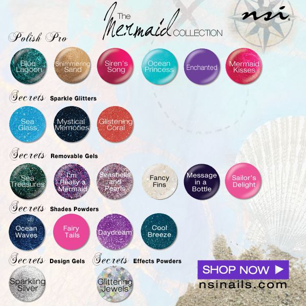 Our FULL Mermaid Collection swatch lineup! Be sure to check our sites categories for these new additions! Secret Shade Powders, Secrets Removable Gels, Polish Pro, Secrets Effects Powder, Secrets Design Gel!