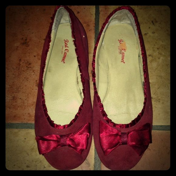 25% off bundlesRed Ballet Flats Red ballet flat with bow detailing. Size 6 and Red Camel brand. Red Camel Shoes