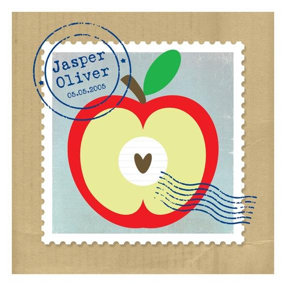 Personalised Baby Print Apple by Onneke on Etsy