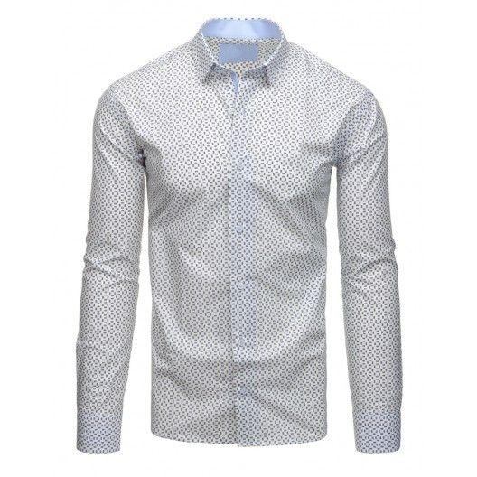 Pánské vzorované košile bílé barvy s dlouhým rukávem - manozo.cz