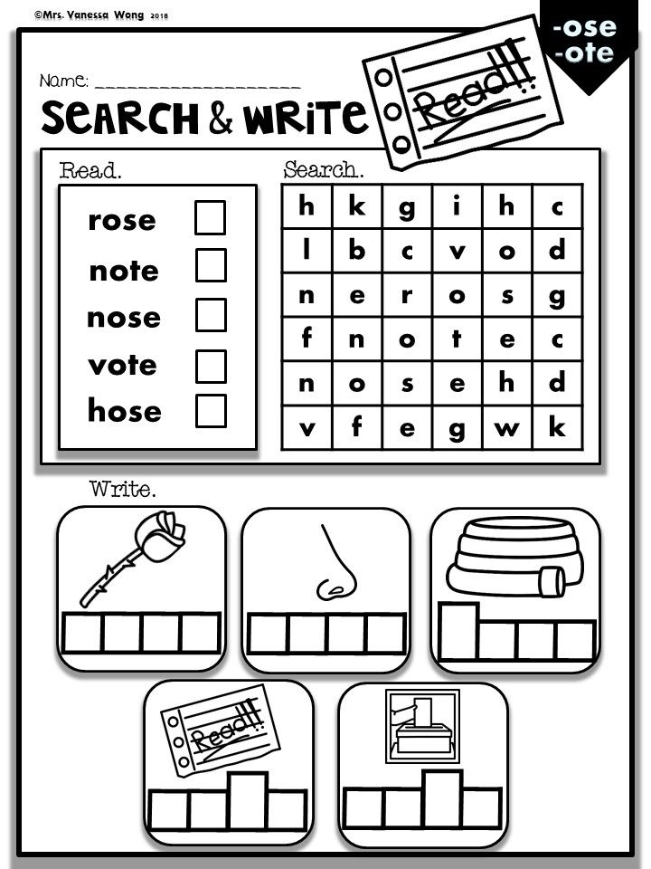 Phonics CVCE Long Vowels -Search  Write (Kindergarten/First Grade