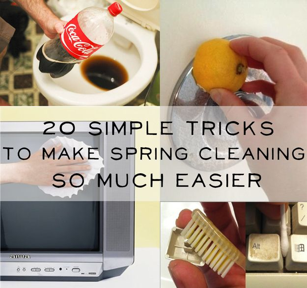 20 Simple Tricks To Make Spring Cleaning So Much Easier - very resourceful! [[#20 is my favorite lol]]