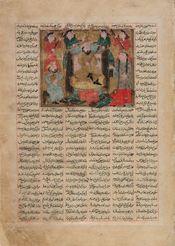 Sam granting an audience to Queen Sindukht from a Shahnama (Book of kings) by Firdawsi early 14th century   Mongol period Mongol period  Ink, opaque watercolor, gold and silver on paper H: 9.6 W: 11.8 cm Shiraz, Iran
