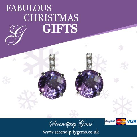 Look like a million dollars! Accessorise with Serendipity jewellery. Amethyst and white sapphire earrings £145. Shop at www.serendipitygems.co.uk