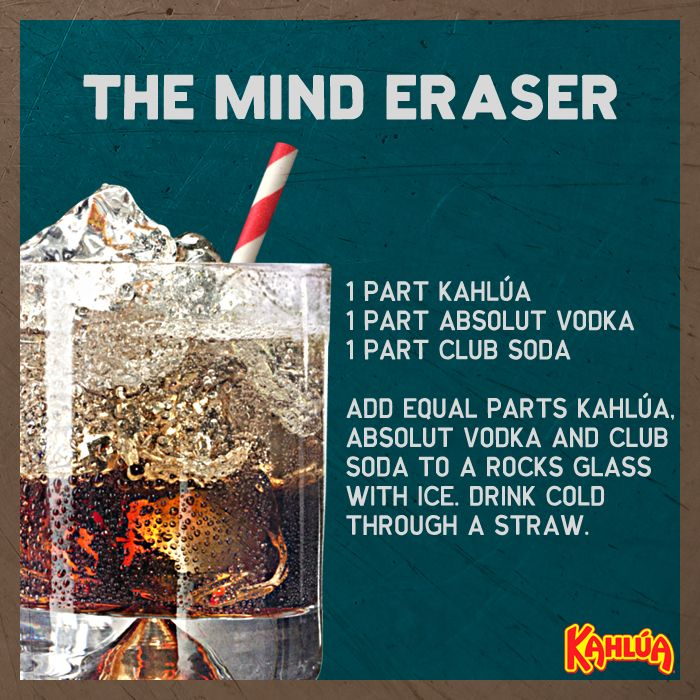 The Kahlua Mind Eraser is the perfect quick drink to start the night out with friends! Equal parts Kahlua, vodka and club soda give this classic cocktail its unique flavor.