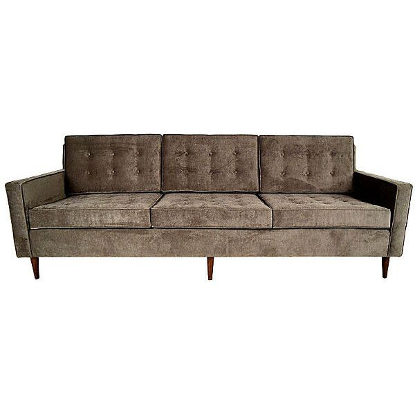 Pre-Owned 1960s Mid-Century Modern Sofa ($3,939) ❤ liked on Polyvore featuring home, furniture, sofas, second hand couches, button couch, secondhand furniture, button-tufted sofas and second hand sofas