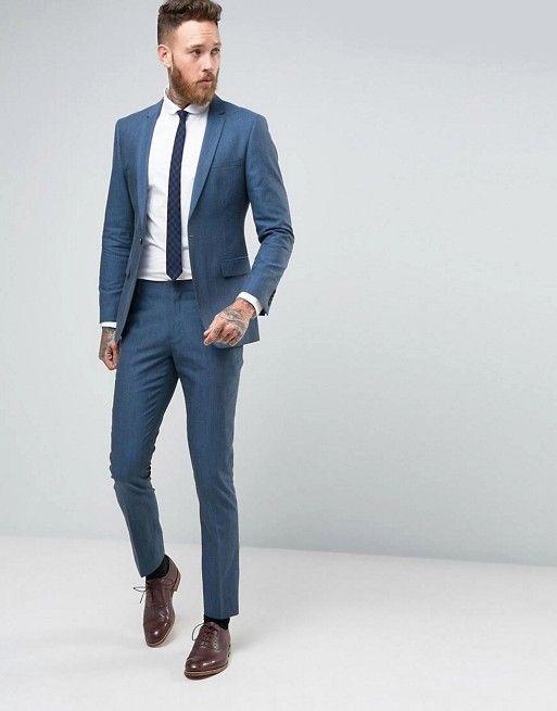 Number Eight Savile Row Skinny Suit in Micro Herringbone