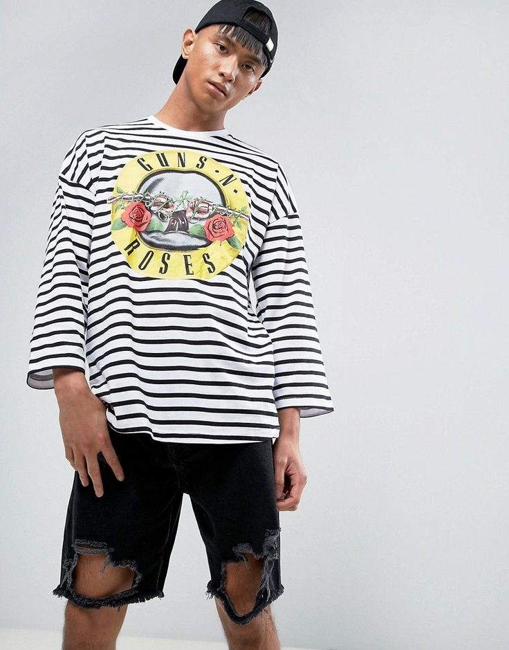ASOS Guns And Roses Oversized Band T-Shirt With Stripe And 3/4 Sleeve