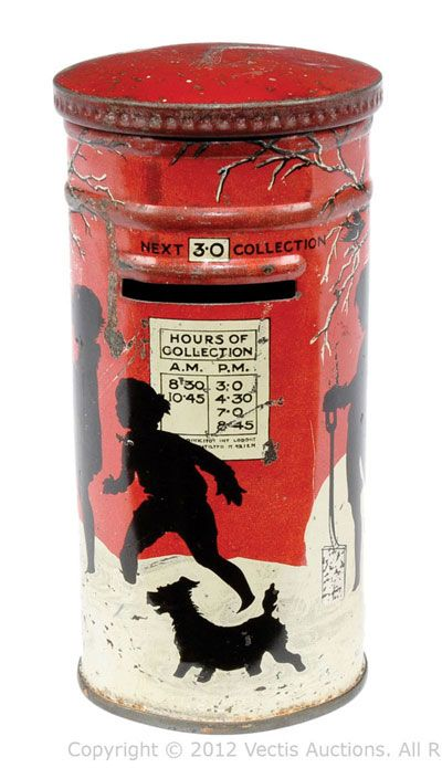Huntley and Palmer's Christmas post box biscuit tin