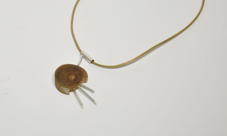 Necklace, wood, Silver