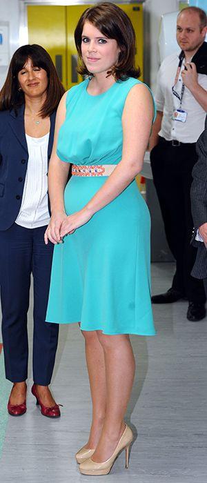 Princess Eugenie in a pretty aqua color