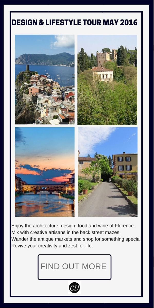 Join me for the trip of a lifetime in Italy 2016 run by Carmen Darwin. http://www.carmendarwin.com/italy-design-and-lifestyle-tour/