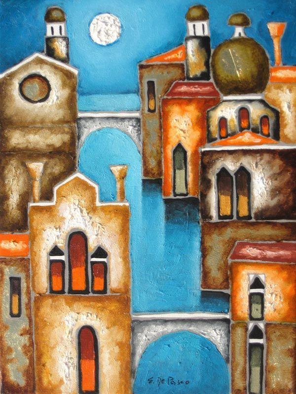 Elio De Pasco venezia con cielo blu - fluidofiume galleria d'arte Trieste