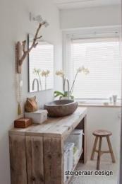 We willen graag een robuuste wastafelmeubel van steigerhout, breedte 120 cm, diepte 40 cm, hoogte 85 cm... met daarin een of twee (afhankelijk van lastigheid met sifon) verborgen lade van ongeveer 10 cm hoog