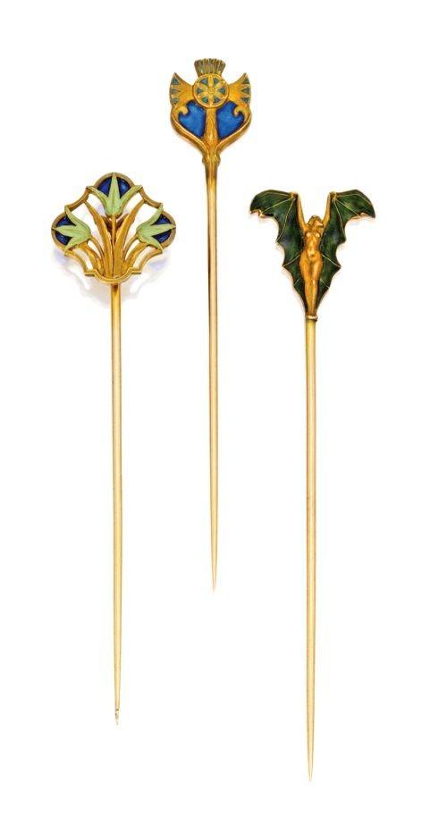 RENÉ LALIQUE | Three Gold and Enamel Stickpins - circa 1900.