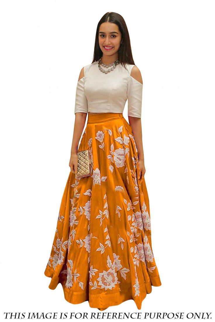 Bollywood Shraddha Kapoor Satin Designer Lehenga Choli in White Colour>it comes with matching Dupatta and Choli.It can be stitched upto 42 inches...