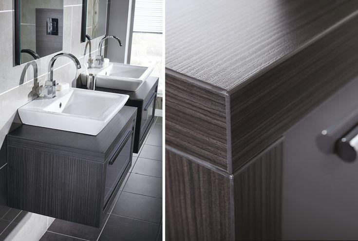 Dark wood worktop from Utopia Bathrooms.