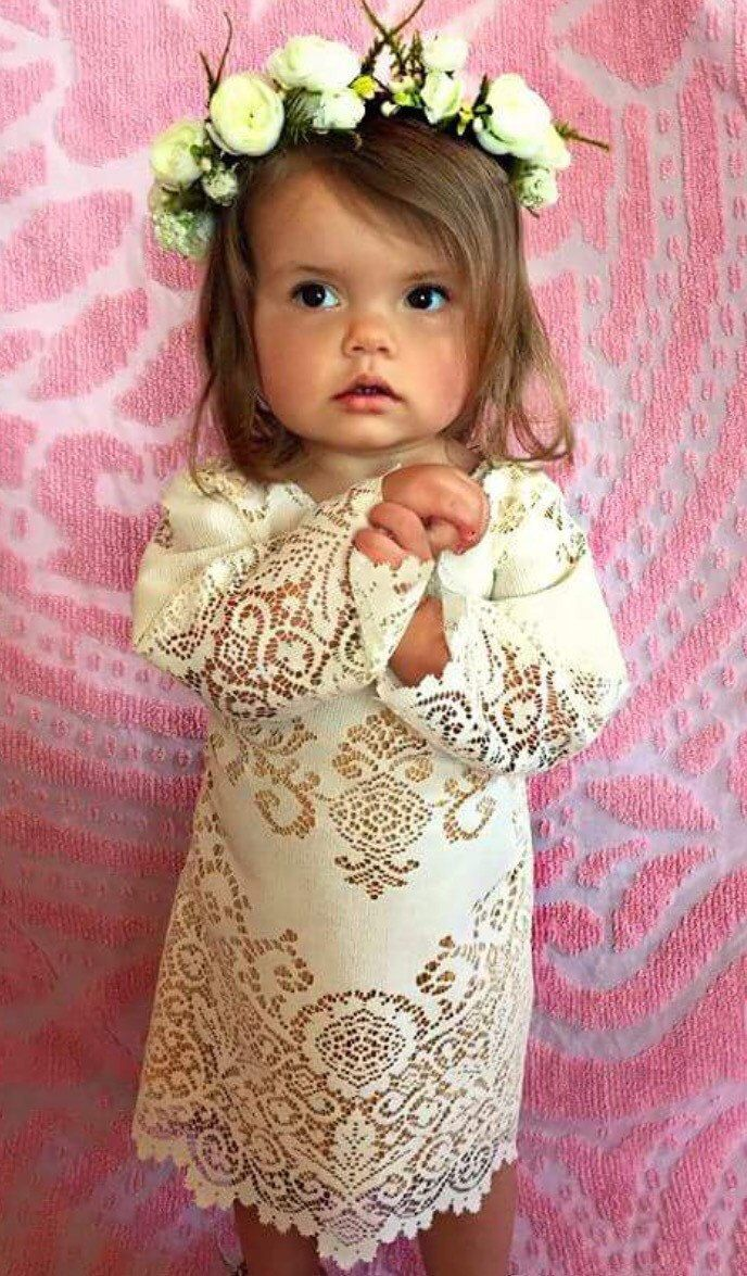 Boho bell sleeve Flower Girl Dress