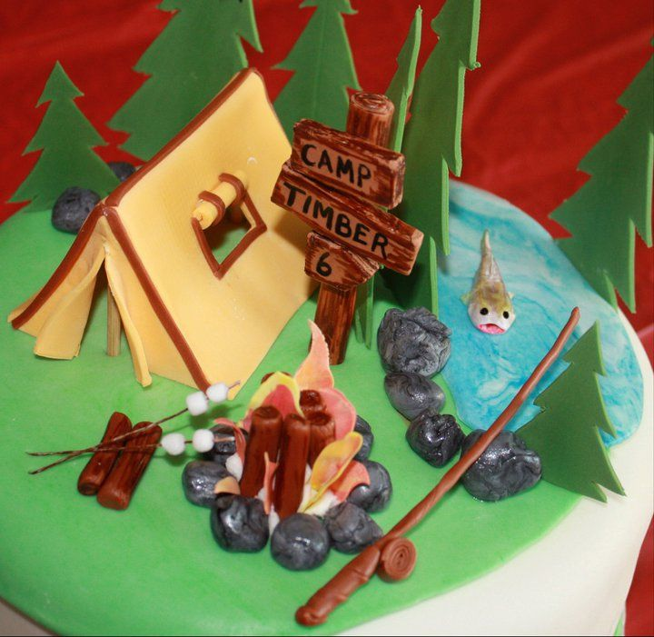 """Camping Theme Cake - For a little boy named Timber who was turning 6.  His mom did not want the traditional """"Happy 6th Birthday Timber"""" on it, hence the sign.  All of the items on the cake were made from gumpaste and gumpaste/fondant mix.  Such a fun cake!"""