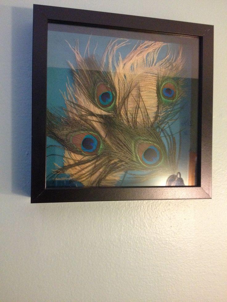 DIY peacock shadow box. So easy to make   Do it yourself   Pinterest