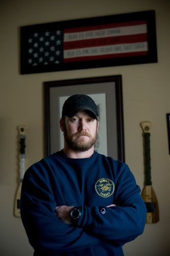 Chris Kyle (1974 – February 2, 2013) murdered along with his friend Chad Littlefield.  They were shot by Eddie Ray Routh. He was a serviceman with PTSD they were trying to help.