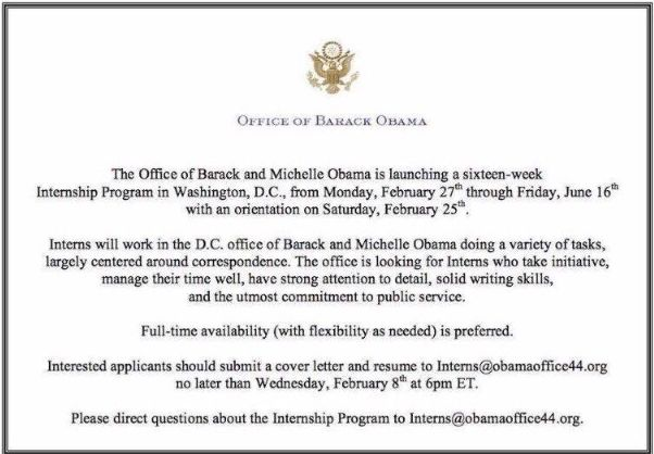 Barack and Michelle Obama Are Looking for Interns